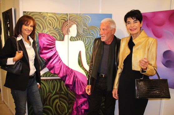 Calypso de Silgaldi, Arthur Goldstein and artist Elizabeth Wessel by her artwork The take-off @CelinaLafuenteDeLavotha