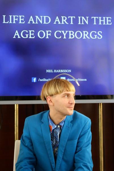 Cyborg Neil Harbisson at the Monaco Press Club conference @CelinaLafuenteDeLavotha