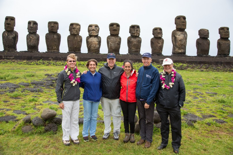 HSH Prince Albert with Col. B. Philipponnat, Daniele Blancher Honorary Consul of Monaco in Chile, Rapa Nui guide, Robert Calcagno and Bernard Fautrier during visit to Easter Island, October 7, 2015 @MOM