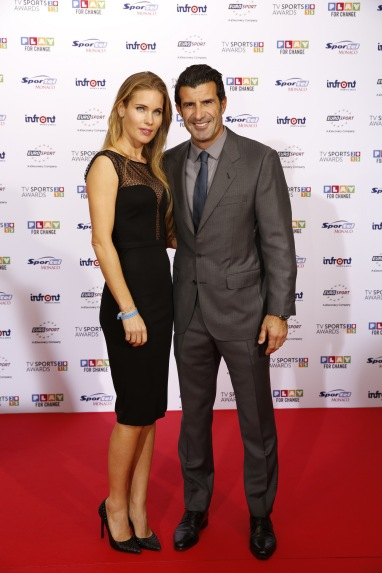 Luis Figo with wife and model Helen Svedin from Sweden , TV SPORTS AWARDS Red Carpet @SportelMonaco 2015 Photos