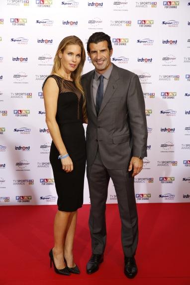 Luis Figo with wife and model Helen Svedin from Sweden , TV SPORTS AWARDS Red Carpet @SportelMonaco 2015 Photos