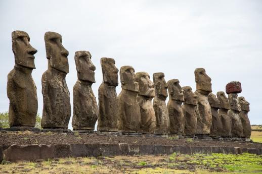 Moai massive caraved rock head figures @ MOM