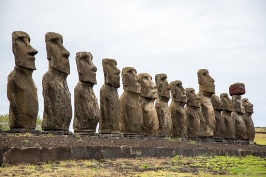 Moai massive caraved rock head figures @ MOM