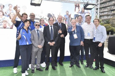 Official visit to Sportel by (from Right to left in suits) HE Michel Roger Minister of State, Jean Castellini Minister of Finance and Patrice Cellario Minister of Interior and Culture @SportelMonaco2015 Photos