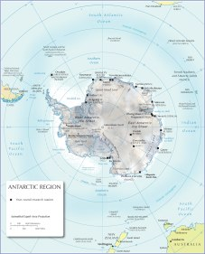 Physical map of Antarctica @Nations Online Project
