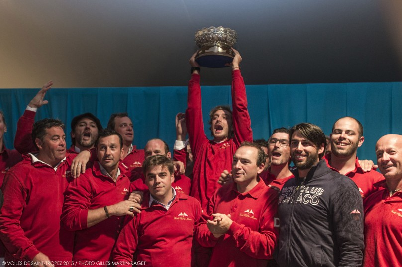 Pierre Casiraghi lifting the trophy surrounded by Tuiga's crew @Voiles de St. Tropez 2015 : Photo: Gilles Martin-Raget
