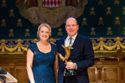 Debbie Kinder and HSH Prince Albert II of Monaco @BLUE2015Monaco