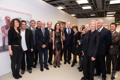 HSH Prince Albert with the artists of Salon Richness 2014