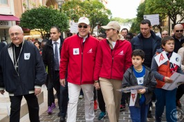 Prince Albert and Princess Charlene with Monseigneur Bernard Barci Archibishop of Monaco leading the march for the Climate through the streets of Monaco @ Gaétan Luci:Palais Princier