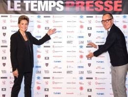 Celina Lafuente de Lavotha of Monaco Reporter and Herve Haesbach of FightAids Monaco, partners of Le Temps Presse @Richard Concept Photo