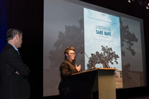 Pauline Goasmat presenting the teaser of L'Histoire de Sare Bafe about equal education @Richard Concept Photo