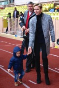 Princess Charlene with Prince Hereditary Jacques at the Rugby tournament @CelinaLafuenteDeLavotha