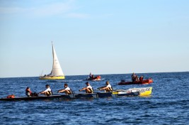 Watching the rowers battle on the sea @Societe Nautique Monaco