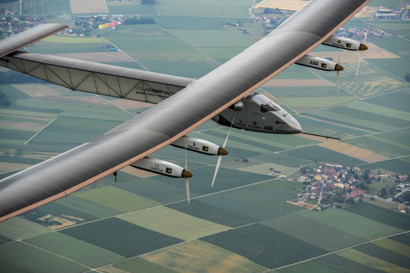 Payerne, Switzerland: Today,Solar Impulse 2, the second single-seater solar aircraft of Bertrand Piccard and André Borschberg designed to take up the challenge of the first round-the-world solar flight, without any fuel in 2015, carried out its first flight out of the Payerne aerodrome in Switzerland. There will be several other test flights taking place in the coming months in order for this experimental machine to attain certification. They will be followed by training flights of Bertrand Piccard and André Borschberg later in the season still from Payerne airfield. The attempt to make the first round-the-world solar-powered flight is scheduled to start in March 2015 from Gulf area. Solar Impulse will fly, in order, over the Arabian Sea, India, Burma, China, the Pacific Ocean, the United States, the Atlantic Ocean and Southern Europe or Northern Africa before closing the loop by