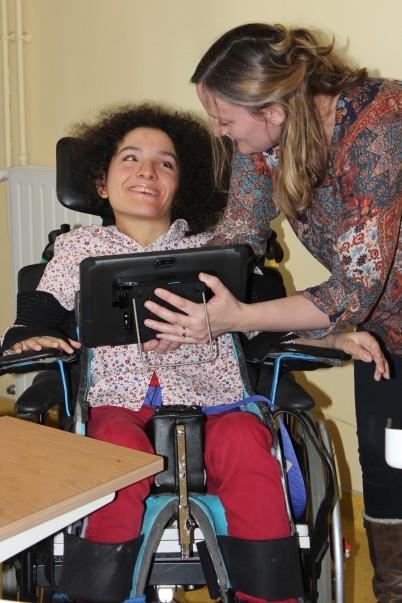 Enjoying the use of a computer @Les Enfants de Frankie