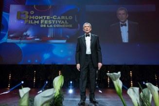 Ezio Greggio introduces the award ceremony held at Grimaldi Forum in Monaco, March 6th, 2016. @ Marco Piovanotto