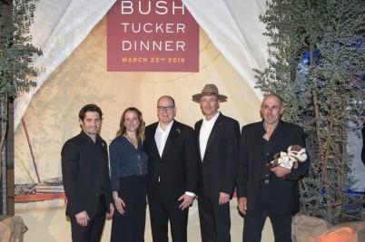 HSH Prince Albert II accompanied by Celine Cousteau, Bixente Lizarazu, Robert Calcagno and Frank Bruno at Bush Tucker Dinner @M.Dagnino