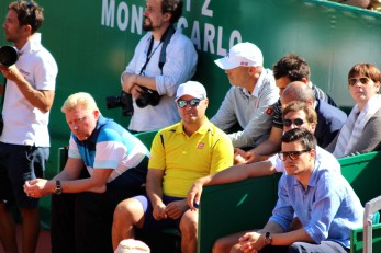 Boris Becker and members of Nova Djokovic's camp @CelinaLafuenteDeLavotha