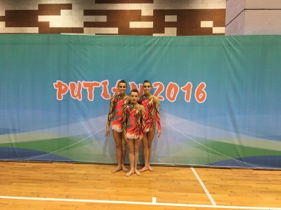 French team Julia Galati, Eleonore Re and Chiara Galati in Putian 2016@Femina Sports Monaco