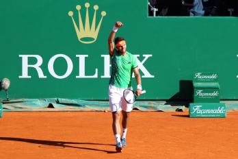 Jiri Vesely celebrating his victory over Djokovic @CelinaLafuenteDeLavotha