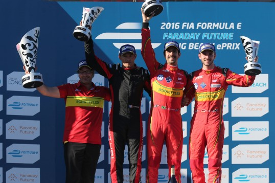 Lucas Di Grassi (1) in the podium with Stephane Sarrazin (2) and Daniel Abt (3) in Long Beach e-Prix @P1 Media Relations ABT Schaeffler Audi Sport