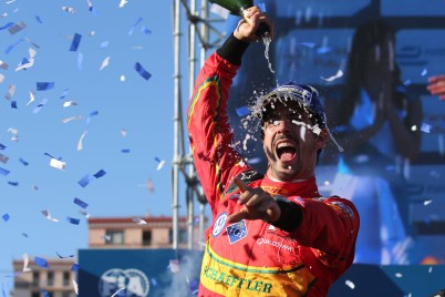 Lucas Di Grassi celebrating with champagne shower after winning Long Beach e-Prix @P1 Media Relations ABT Schaeffler Audi Sport