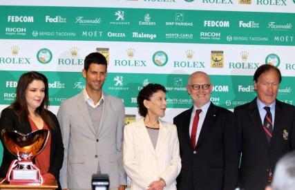 Melanie Antoinette de Massy, Novak Djokovic, Elizabeth Anne de Massy, HE Serge Telle, and Zeljko Franulovic during the main draw @CelinaLafuenteDeLavotha