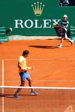 Nadal celebrating his win over Thiem on Thursday, April 14 @CelinaLafuenteDeLavotha