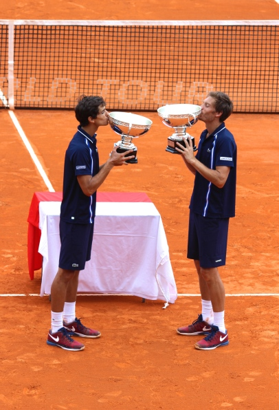 Pierre-Hugues Herbert and Nicolas Mahut winner of the doubles at the Monte-Carlo Rolex Masters 2016 @CelinaLafuenteDeLavotha