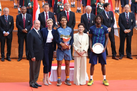 Prince Albert, Princess Charlene, Rafael Nadal, Baronne Elizabeth Ann de Massy and Gael Monfils at the trophy ceremony of the MCRM @CelinaLafuenteDeLavotha