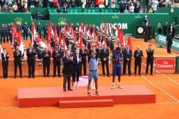 Rafael Nadal lifting his 9th Monte-Carlo Rolex Masters' trophy @CelinaLafuenteDeLavotha