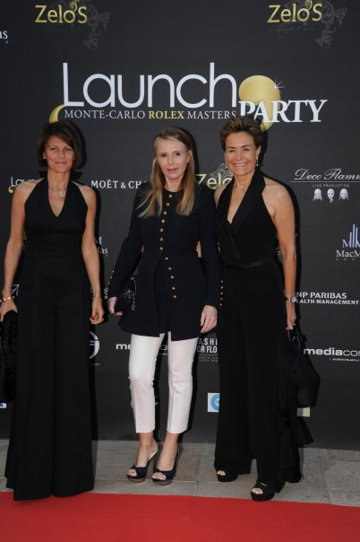 Rebecca, Francesca Traldi of Faconnable and Celina Lafuente de Lavotha at the Zelo's launch party@Gianni