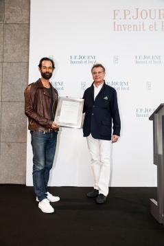 2016. Prix Solo artmonte-carlo - F.P. Journe - Chris Sharp (Director art space Lulu, award winner) and Francois-Paul Journe (c) Fabien Prauss