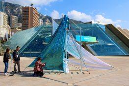 American artist Bettina Allamoda installing her Bed Bondage : Anti Stationement, Nuit Blanche Monaco 2016 @CelinaLafuenteDeLavotha