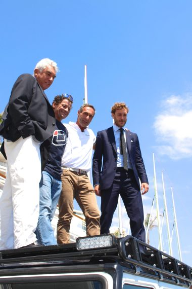 Bernard D'Alessandri, Steve Ravussin, Mike Horn and Pierre Casiraghi on top of the 4x4 at YCM @CelinaLafuenteDeLavotha