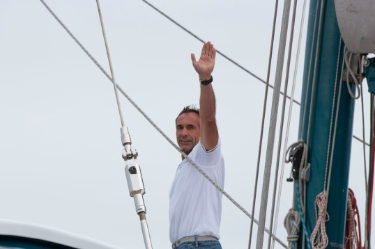 MIke Horn departing aboard Pangaea for his Pole2pole expedition May 8, 2016@Franck Solimeïs-7978