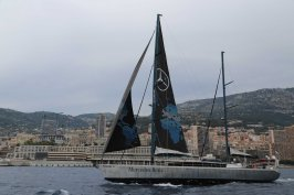Mike Horn on board Pangaea departing from Monaco for the first leg of his expedition Pole2Pole May 8, 2016@AFILC