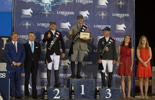 Emanuele Gaudiano (1st), Piergiorgio Bucci (2nd) and Rolf-Goran Begtsson (3rd) on the podium with Charlotte Casiraghi, Jan Tops and other dignitaries at LGCT MC @RBpresse