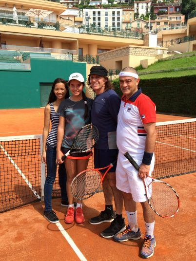 Guillermo Vilas with daughter Andanin Villas and wife Phiang and Marco Capitini June 8, 2016@CelinalafuenteDeLavotha