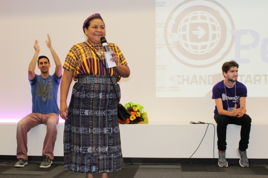 Rigoberta Menchu giving a keynote address to students in Monaco @Christine Wu