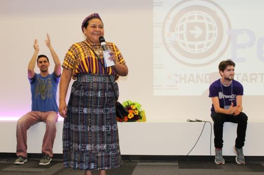 Rigoberta Menchu giving a keynote address to students in Monaco @Christine Wu