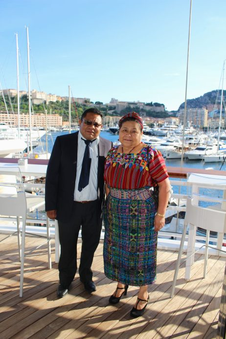 Rigoberta Menchu with her husband Angel Canil at the Yacht Club of Monaco for a cocktail reception and dinner in her honor @CelinaLafuenteDeLavotha