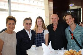 Celina with Mikhail Baryshnikov, Jean-Christophe Maillot and young Russian choreographer Vladimir Varnava, Monaco June 28, 2016