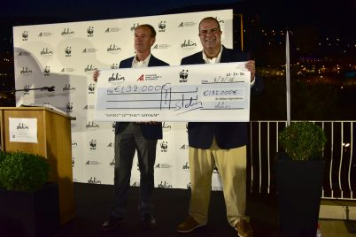 Marco Lambertini (WWF) and Sir Stelios with the check for the total amount raised for the Pelagos Sanctuary @SPF