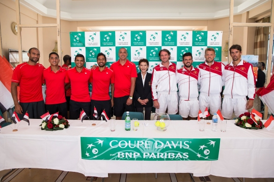Mme Elisabeth-Anne de Massy with the Egyptian and Monegasque Davis Cup Teams @Federation Monegasque de Tennis, Erika Tanaka