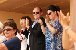 Prince Albert with Elisabeth Anne de Massy and Melanie Antoinette de Massy applauding the Monegasque team 2016 @Federation Monegasque de tennis : Erika Tanaka