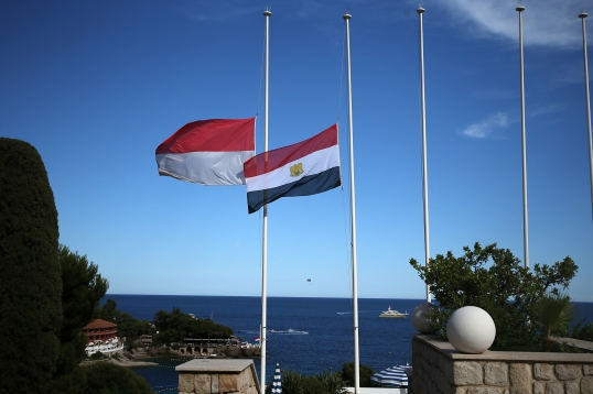 The Monaco and Egypt flags lowered at half-mast after Nice attack on July 14, 2016@Federation Monegasque de Tennis:Erika