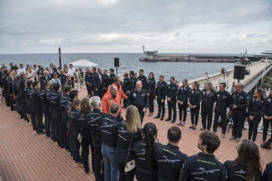 HSH Prince Albert welcoming pilots B.Piccard and A. Borschberg at the Yacht Club of Monaco, July 29, 2016 @Solar Impulse Press Team