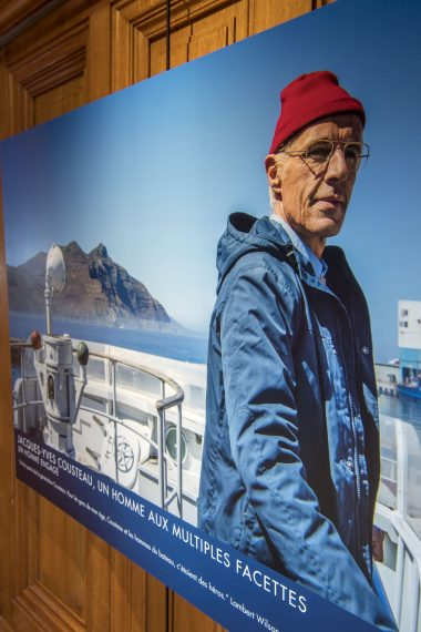 Photos of the film The Odyssey being exhibited at the Oceanographic Museum of Monaco @M.Dagnino