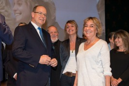 Prince Albert with Fleur and Perrine Cousteau at the premiere of The Odyssey at the Oceanographic Museum of Monaco @M.Dagnino